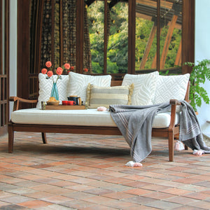Enjoy your garden to the fullest potential with this Maine Solid Wood Outdoor Sofa Day Bed with White Cushion by Cambridge Casual. This patio furniture is a must have piece!