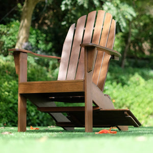 Buy this exquisite Moni Solid Wood Natural Brown Adirondack Chair FREE Tray Table, available now from Cambridge Casual. This could complete your porch or backyard. Purchase it today!