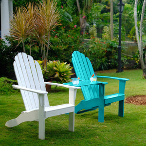 Purchase this handsome Moni Solid Wood Turquoise Adirondack Chair FREE Tray Table from Cambridge Casual to start enjoying your tea time and work-from-homes outdoors with its practical tray table!