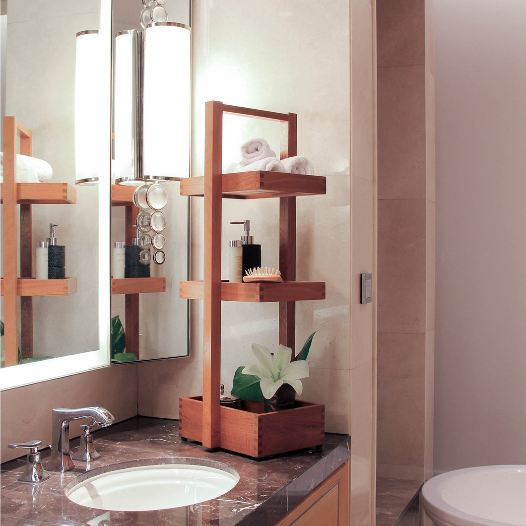 This versatile teak bath and shower caddy from Cambridge Casual has a simple and modern design that suits any number of bathroom styles