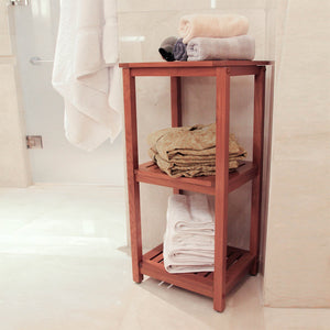 Dussi Solid Teak Wood Freestanding 3 Tier Bathroom Storage Shelf