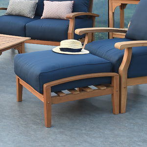 Teak Wood Outdoor Ottoman with Navy Cushion
