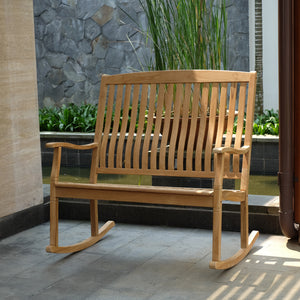 Teak Wood Outdoor Loveseat Rocker