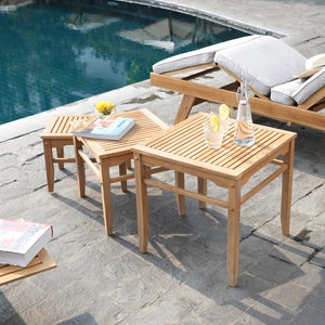These Richmond teak nesting tables are the perfect addition to your outdoThese Richmond Solid Teak Wood Outdoor Nesting Side Table are the perfect addition to your outdoor seating arrangement. Buy them today from Cambridge Casual.