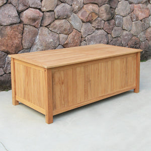 "Purchase this functional yet stylish Richmond Solid Teak Wood 60 Inch Outdoor Storage Deck Box from Cambridge Casual patio furniture. Available now for 48"" and 60"" size variants!"