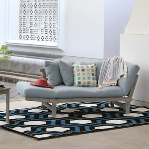 Outdoor Convertible Sofa Day Bed with Teal Cushion