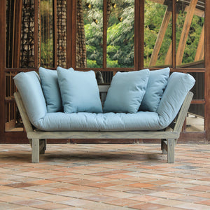 Enjoy your garden to its full potential with the  Carlota Solid Wood Outdoor Convertible Sofa Day Bed with Teal Cushion from Cambridge Casual patio furniture!