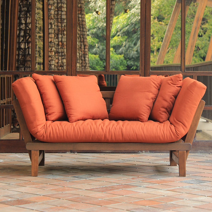 Bring home this Carlota Solid Wood Outdoor Convertible Sofa Day Bed. Available in new option of natural brown frame. Enjoy the free shipping deal from Cambridge Casual!