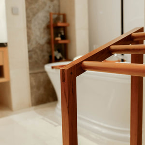 Buy gorgeous teak bathroom furniture from Cambridge Casual, including this versatile and robust open towel rack from Dussi collection.