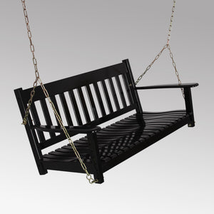 Experience the deep contoured seat from this Moni Solid Wood Black Porch Swing. It fits beautifully with existing furniture arrangement and gives you the comfort that you deserve. Buy now from Cambridge Casual.