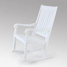 For a classy and relaxing addition to your front porch, shop this Bonn Solid Wood White Outdoor Rocking Chair from Cambridge Casual patio furniture.