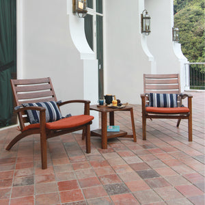 Explore this Carlota Solid Wood 3 Piece Patio Conversation Set with Brick Cushion to pretty up your balcony or porch. It's available today from Cambridge Casual Patio Furniture!