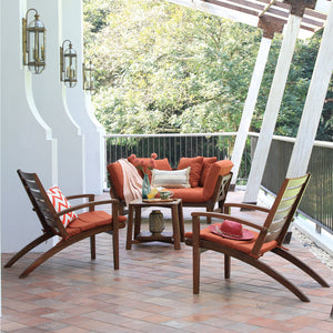 Get to know this Carlota Solid Wood 4 Piece Patio Conversation Set with Brick Cushion to pretty up your balcony or porch. Available today from Cambridge Casual Patio Furniture!