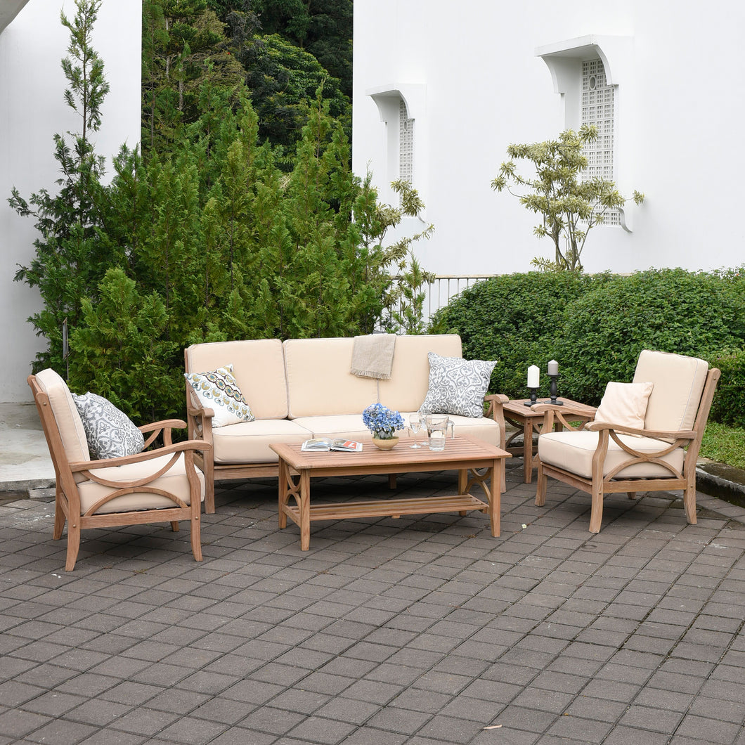 Create relaxing garden atmosphere with the Benton Rustic Teak Wood 5 Piece Patio Conversation Set. Available on Cambridge Casual Patio Furniture.