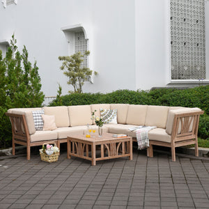 8pc Rustic Teak Patio Sectional Sofa Set