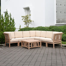 Own this amazing Benton Rustic Teak Wood 8 Piece Patio Sectional Set to make your dream outdoor space. Available on Cambridge Casual Patio Furniture.