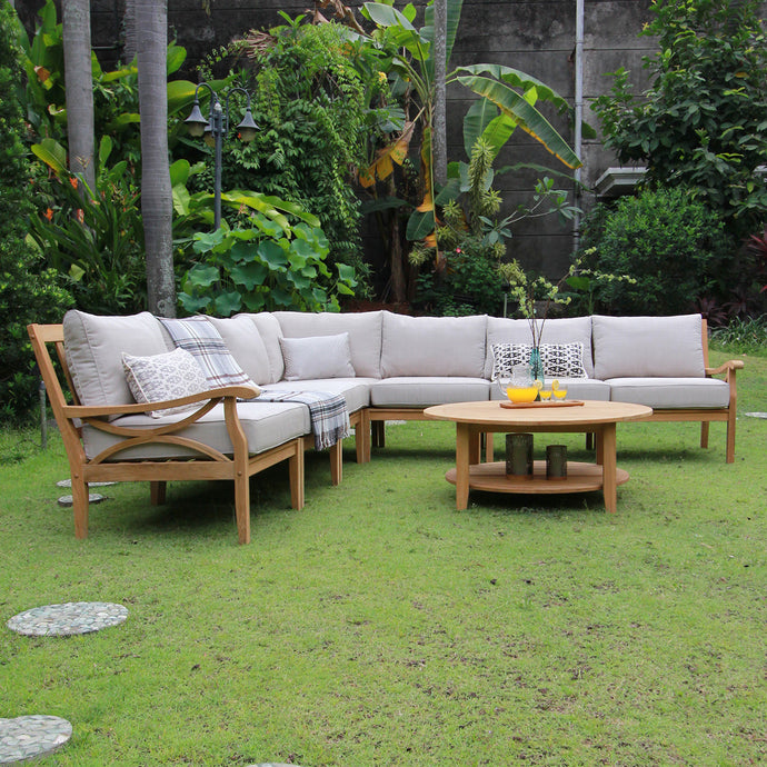 Explore more about Abbington 8pc teak patio sectional set to make your outdoor space so dreamy at Cambridge Casual patio furniture