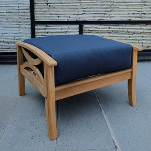 Solid Teak Wood Outdoor Ottoman with Navy Cushion