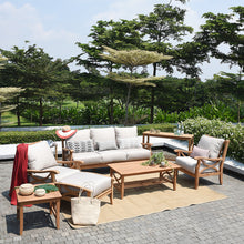 Teak Wood Patio Sofa with Beige Cushion