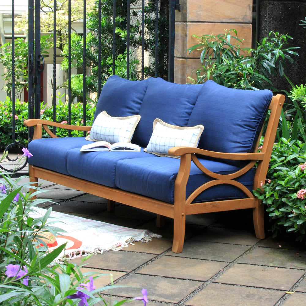 Solid Teak Wood Patio Sofa with Navy Cushion