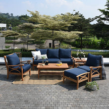 Abbington Solid Teak Wood Patio Sofa with Navy Cushion