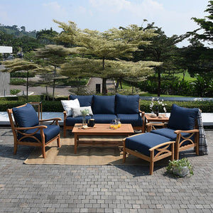 Own this charming three-seat teak sofa from Cambridge Casual, part of the Abbington collection. Available at Cambridge Casual patio furniture