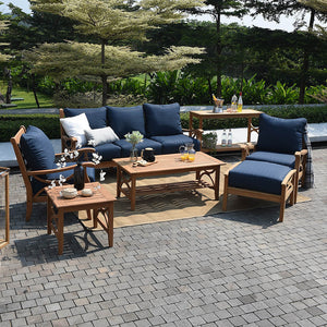Teak Wood Patio Sofa with Navy Cushion