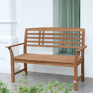 Belize Solid Teak Wood Outdoor Bench with Taupe Cushion provides style and sophistication. Shop your Patio Furniture from Cambridge Casual.
