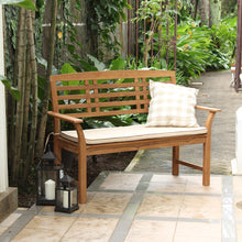 Wood Outdoor Bench with Taupe Cushion