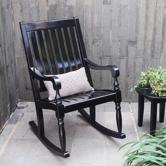 This Elegant collection of Bonn Rocking Chair provides a relaxing yet classy atmosphere to decorate your house. Enjoy the relaxing rocking motion from your front porch. Buy it now from Cambridge Casual - available in black and white color.