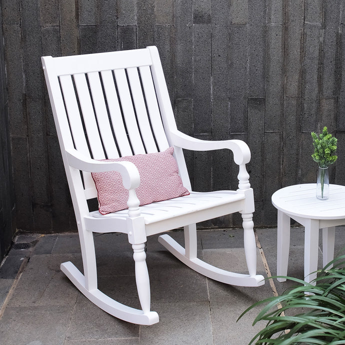 For a classy and relaxing addition to your front porch, shop this Bonn rocking chair from Cambridge Casual. Collection is available in black and white color.
