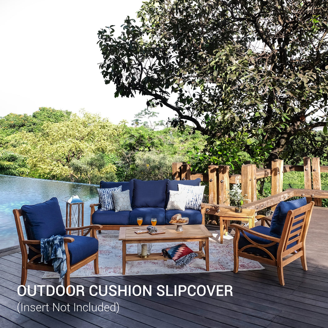 Add this Sunbrella Cushion Slipcover to your existing patio furniture set. With beautiful cushion slipcover in indigo color, bring a modern style to your patio. Available today from Cambridge Casual!