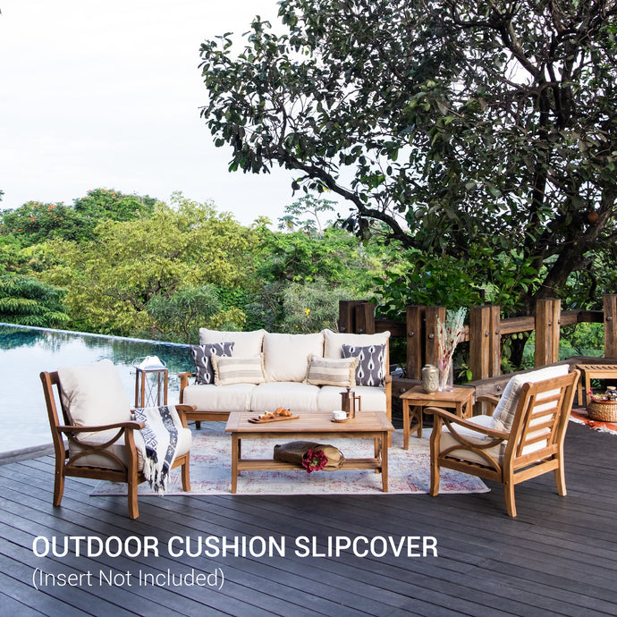 Buy this Sunbrella Vellum Cushion Slipcover from Cambridge Casual today! This set come with beautiful vellum seat cushion and backrest cushion slipcover, perfect to paired with Abbington 5 Piece Conversation Set.