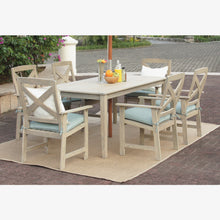 7 Piece Outdoor Dining Set with Teal Cushion