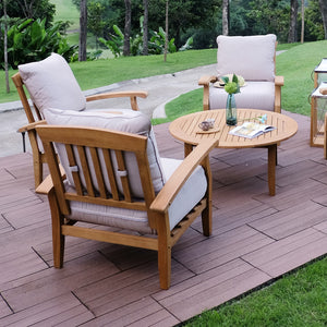Outdoor Lounge Chair with Beige Cushion