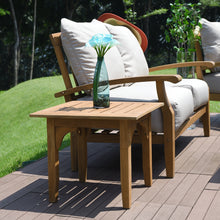 The simple and stylish design of the Caterina Solid Teak Wood Outdoor Side Table can help coordinate your outside furniture arrangement. Buy it here today.