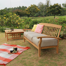 Purchase Caterina teak sofa from Cambridge Casual to complete your outdoor furniture collection and enjoy the style and comfort of its teak design.