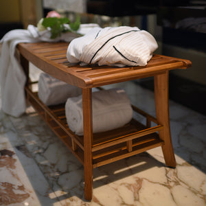 Dussi Teak Spa Bench with Shelf