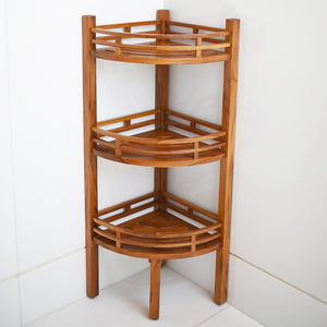 Visit Cambridge Casual today and discover our wide range of teak bathroom furniture, including this Dussi Solid Teak Wood Freestanding 3 Tier Corner Bathroom Storage Shelf.