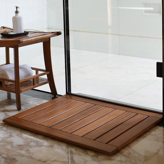 Buy your teak bathroom furniture today from Cambridge Casual, including this beautiful Dussi Solid Teak Wood Shower Mat. It's a real must-have.
