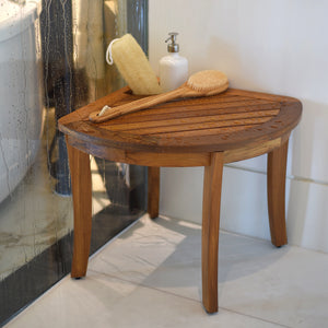 This spa-inspired Dussi Solid Teak Wood Corner Shower Bench Stool with Toiletries Holder is the perfect addition to almost any bathroom. Buy it today at Cambridge Casual.