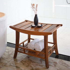 Buy this gorgeous Dussi Solid Teak Wood Shower Bench Stool with Shelf today from Cambridge Casual. The teak styling comes straight from a luxury spa.
