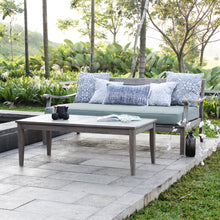 Maximize your outdoor space to the its fullest potential with this Maine Weathered Gray Wood Outdoor Sofa Day Bed with Teal Cushion from Cambridge Casual patio furniture!