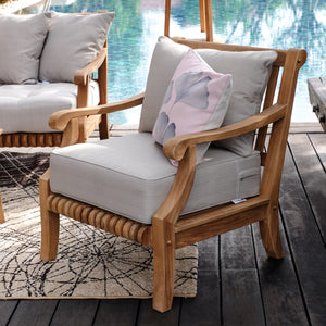 Buy awesome outdoor furniture at Cambridge Casual for outdoor and garden furniture, including this exquisite Mosko Solid Teak Wood Outdoor Lounge Chair with Beige Cushion!