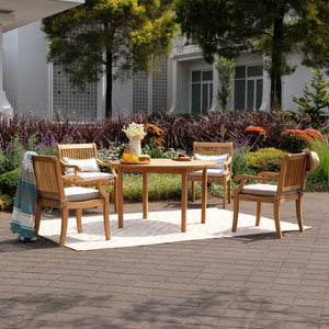 Purchase this gorgeous Mosko Solid Teak Wood Outdoor Dining Chair with Beige Cushion from Cambridge Casual today to finish your outdoor dining ensemble!