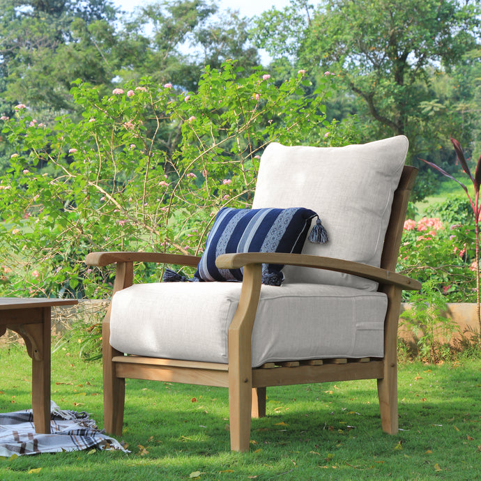 Buy these beautiful Caterina Solid Teak Wood Outdoor Lounge Chair with Beige Cushion from Cambridge Casual today. Their comfort and style make them the perfect furniture for any patio.