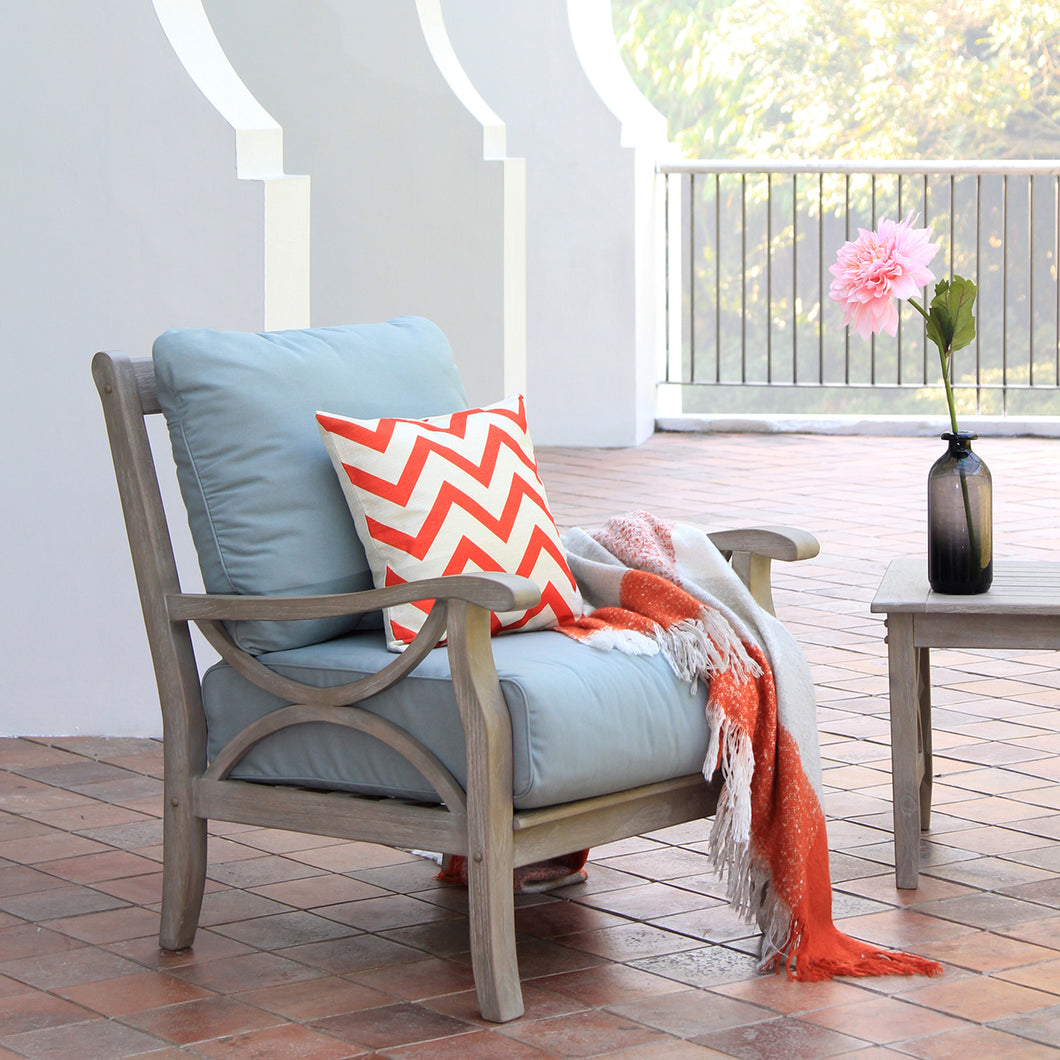 Teak Wood Outdoor Lounge Chair with Teal Cushion