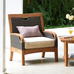 Purchase outdoor teak furniture from the Palma range, including this Palma Solid Teak Wood Outdoor Lounge Chair with White Cushion, from the experts at Cambridge Casual.