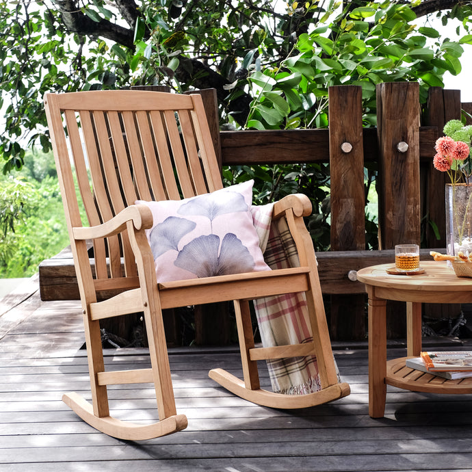 Enjoy the long warm evenings in your garden in this calming Vermont Solid Teak Wood Outdoor Rocking Chair. Buy it today, and discover the full range of teak furniture at Cambridge Casual.
