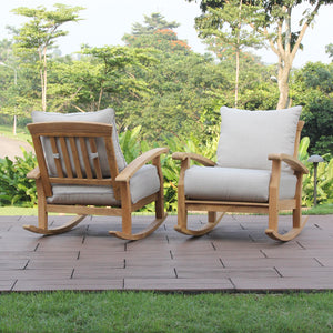 Make the most of your outdoor space with this Caterina Solid Teak Wood Outdoor Rocking Chair with Beige Cushion from Cambridge Casual.
